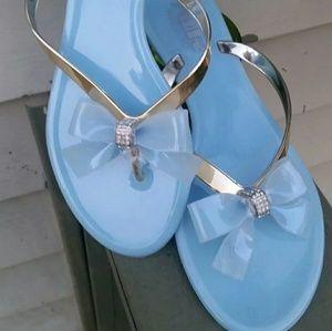 Shoes - Dressy Light Blue/Gold Flip Flop